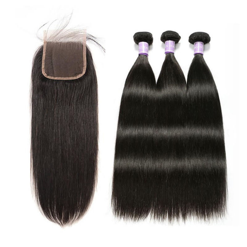 SocoosoHairWig top demand 3 bundles quality straight human hair plus 5x5 lace closure hot sale