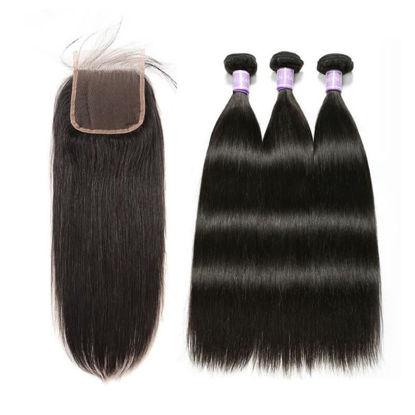 SocoosoHairWig top demand 3 bundles quality straight human hair plus 5x5 lace closure hot sale