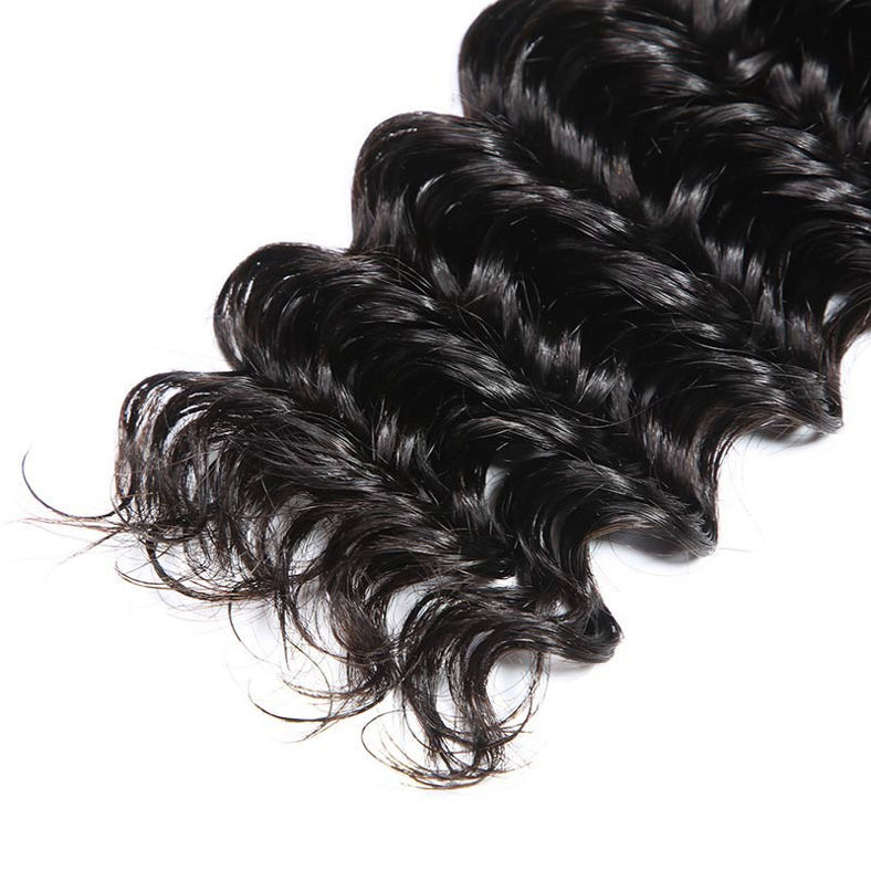 SocoosoHairWig top natural hair quality indian deep wave 3 bundles with seamless lace closure 44 inch wh