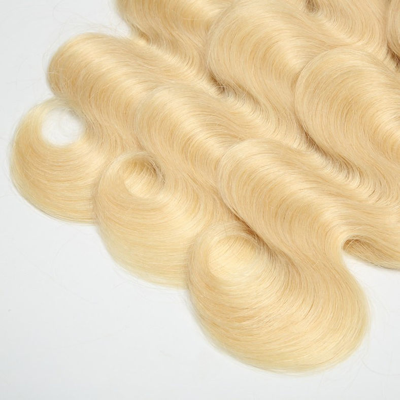 SocoosoHairWig top quality peruvian hair full body wave 3 bundles with 4x4 inch lace closure 613 blonde