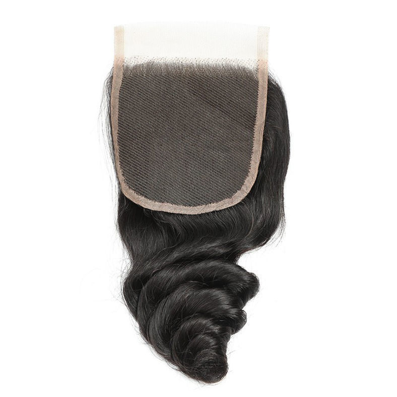 SocoosoHairWig 100 human virgin hair loose wave peruvian hair 3 bundles with 44 inch lace closure for sa