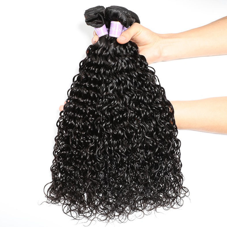 SocoosoHairWig best quality malaysian hair natural wave 3 hair weave with lace closure 4 by 4 inch 1b co