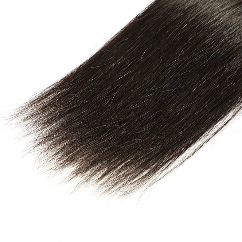 SocoosoHairWig brazilian straight 3 bundles 100 virgin hair wefts with 4x4 inch lace closure