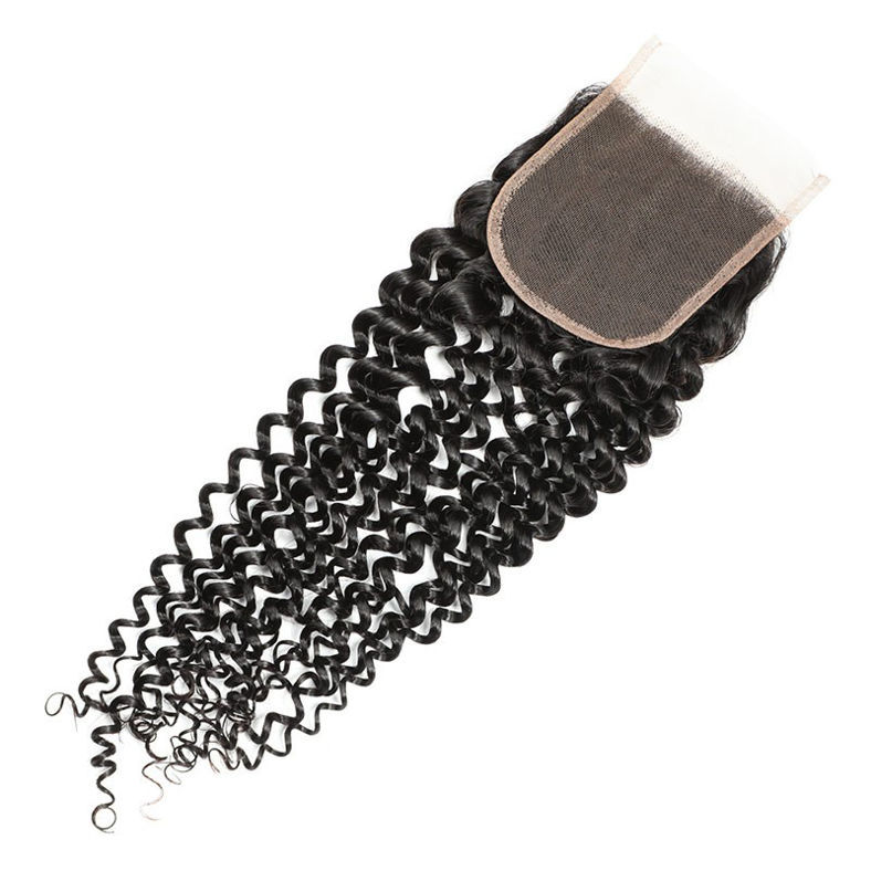 SocoosoHairWig 3pcs mixed virgin jerry curly human hair plus 1pc 4x4 sqaure lace closure