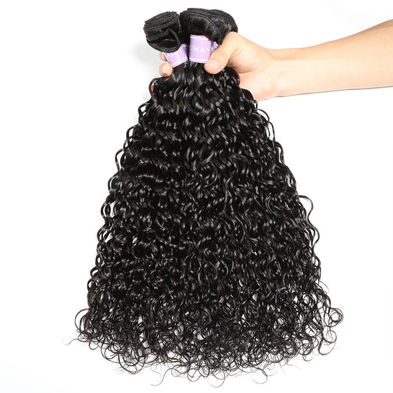 SocoosoHairWig quality brazilian natural wave human virgin hair 3 pieces with lace closure square 4x4 in