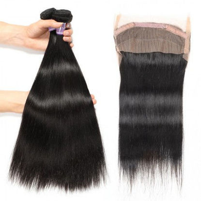 SocoosoHairWig 2 pcs straight human virgin hair wefts plus 1 unit 360 lace frontal