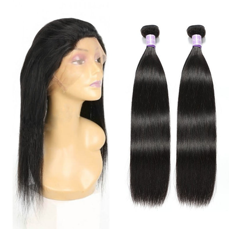 SocoosoHairWig 2 bundle straight brazilian remy hair plus one piece circle 360 lace frontal