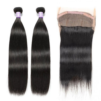 SocoosoHairWig malaysian straight 2 human hair weaves plus 1 unit 360 lace frontal