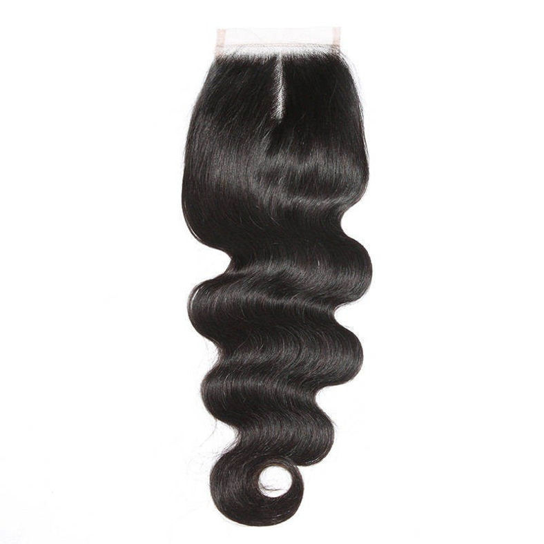 SocoosoHairWig indian body wave 3 pieces hair weft with lace closure 4x4 inch natural color
