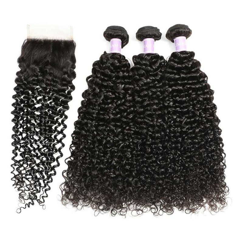 SocoosoHairWig 3pcs peruvian hair weft jerry curly human hair with virgin hair lace closure 4x4 inch are