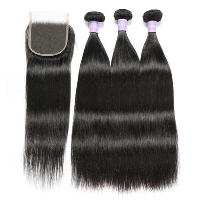 SocoosoHairWig 3pcs hair weave malaysian human hair with straight virgin 4x4 inch lace closure