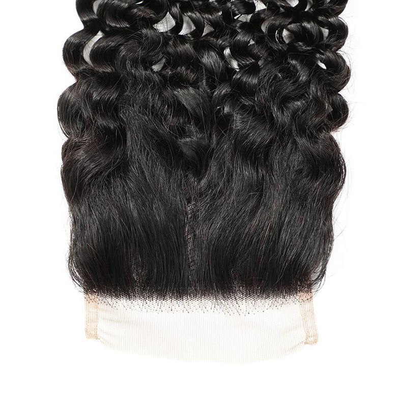 SocoosoHairWig 1b indian curly virgin human hair of 1pc 4x4 square lace closure plus 3 bundles