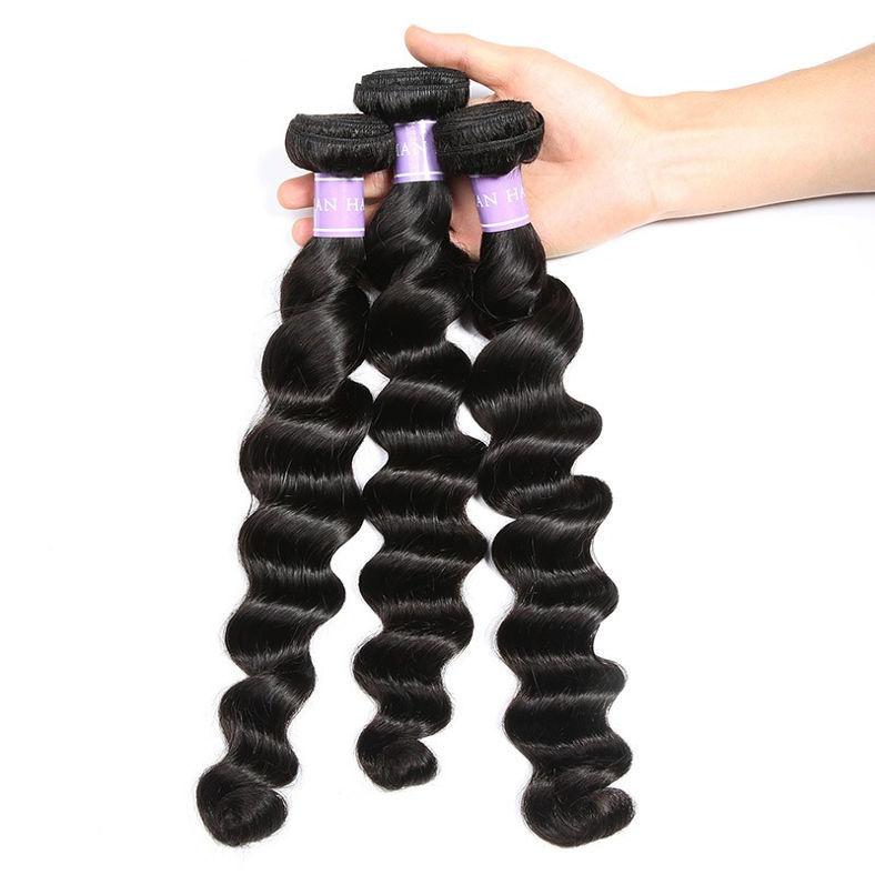 SocoosoHairWig malaysian loose deep wave 3 bundles human virgin hair with 4x4 square 8 20inch length lac