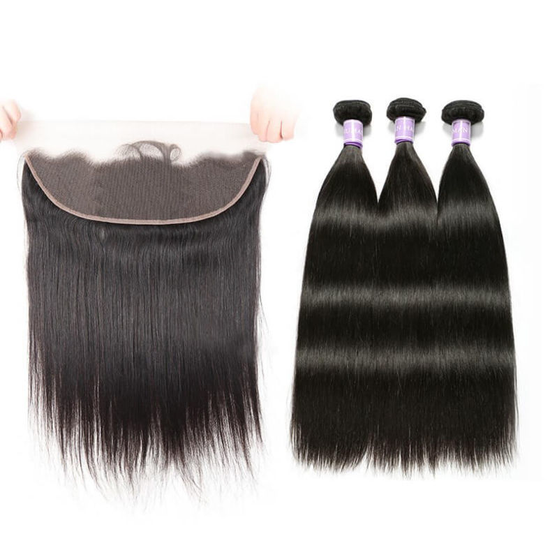 SocoosoHairWig 3 bundles of 100 real virgin straight human hair with 13x6 medium brown lace frontal clos