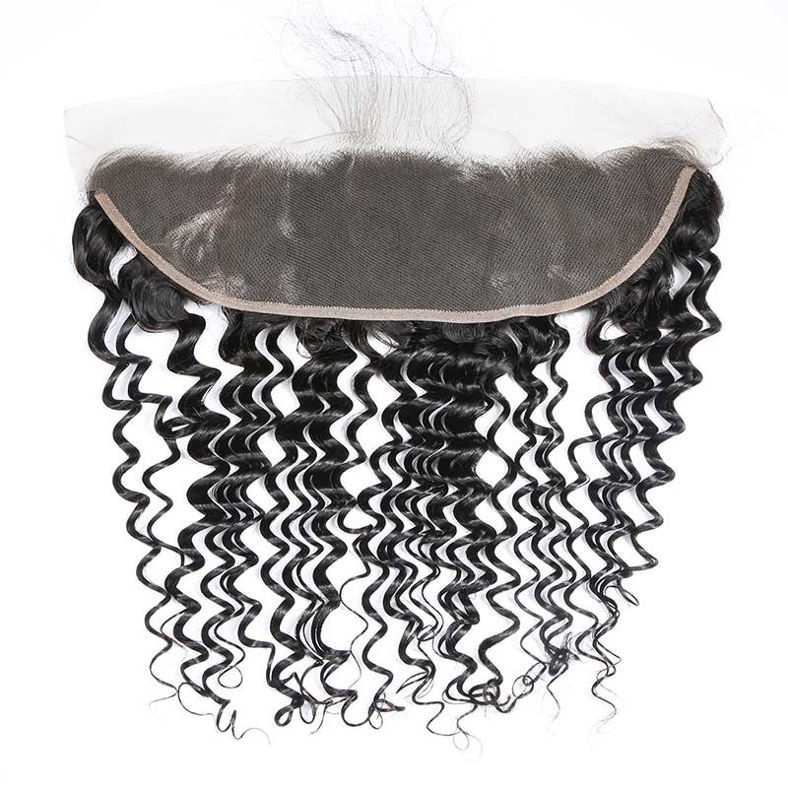 SocoosoHairWig 3 bundles of high quality brazilian deep wave virgin human hair with 13x4 inch lace front