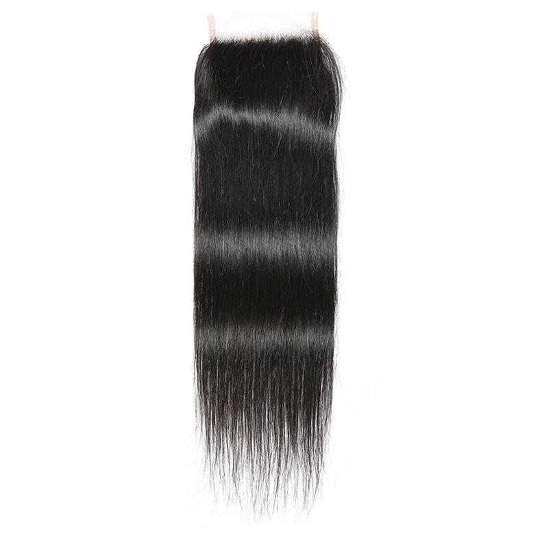 SocoosoHairWig straight virgin peruvian human hair 4 bundles with 1 piece 4x4 inch lace closure