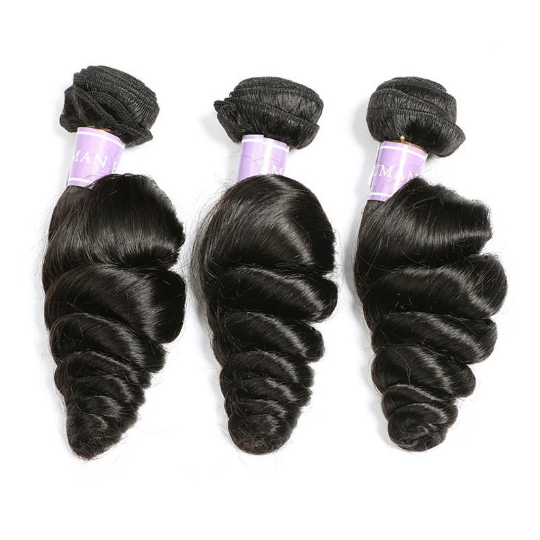 SocoosoHairWig top quality malaysian loose wave virgin human hair 3 bundles with 13x4 lace frontal closu