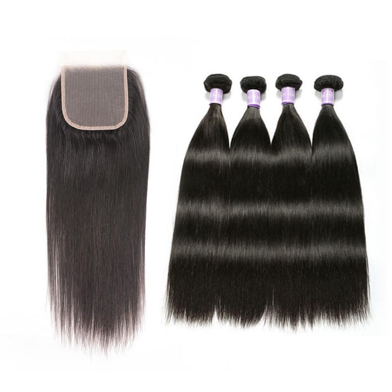 SocoosoHairWig straight natural black human hair full sew in 4 weave match with 4x4 transparent lace clo