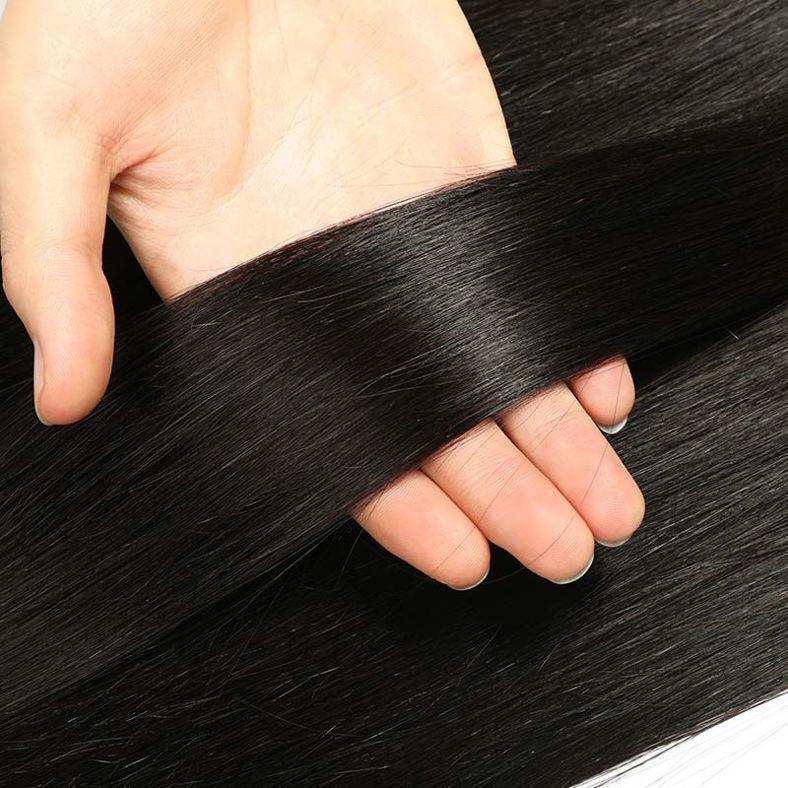 SocoosoHairWig top quality straight 100 virgin hair 4 pcs match with 6x6 inch medium brown lace closure