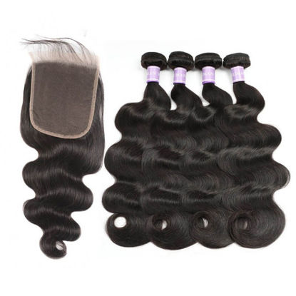 fashion brand SocoosoHairWig body wave 4 pcs weave of human hair 6x6 inch area medium brown lace closure
