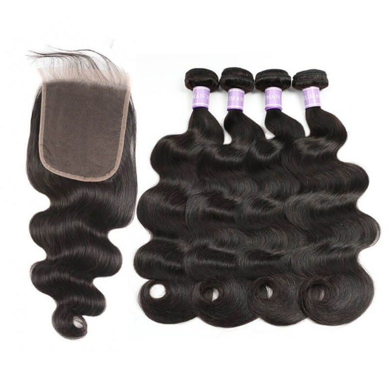 fashion brand SocoosoHairWig body wave 4 pcs weave of human hair 6x6 inch area medium brown lace closure
