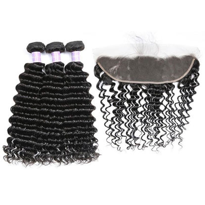 SocoosoHairWig 3 bundles of top quality real virgin deep wave hair weft with 13x4 lace frontal closure