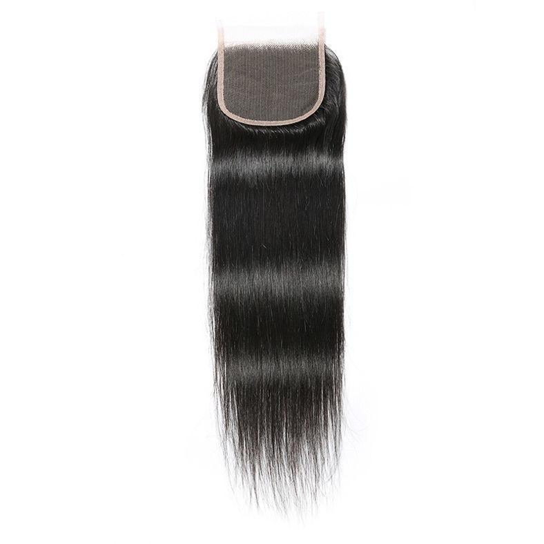 malaysian virgin human hair straight 4 pcs match 1 pcs lace closure 4x4 inch for wig