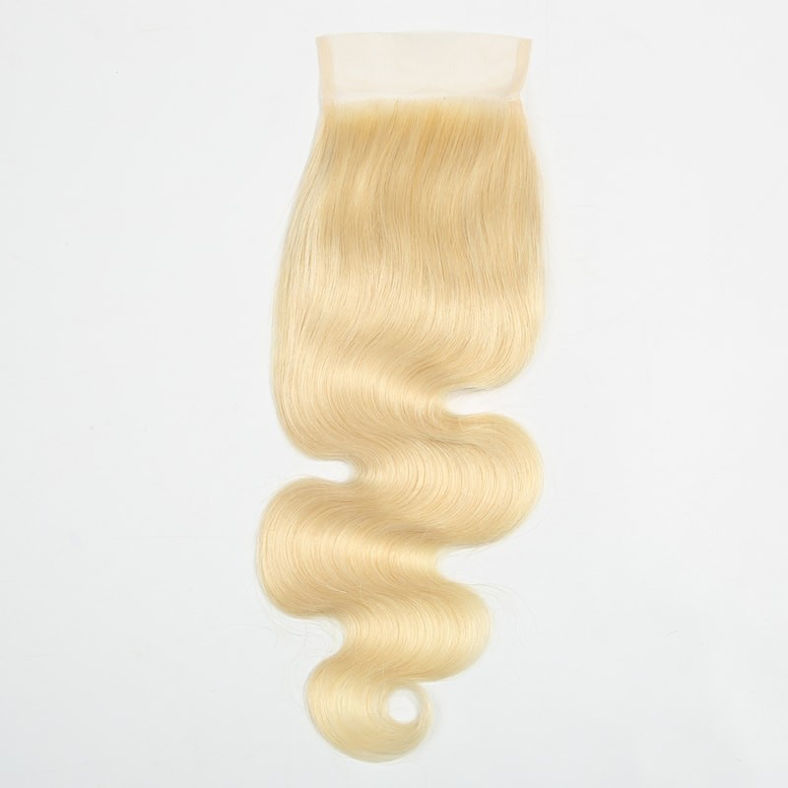 SocoosoHairWig malaysian body wave 613 blonde virgin hair 4 bundles with 1 piece closure 4x4 inch square