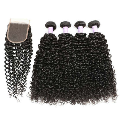 SocoosoHairWig wigs parts of 4 bundle malaysian jerry curly virgin hair 1 unit lace closure 4x4 inch are