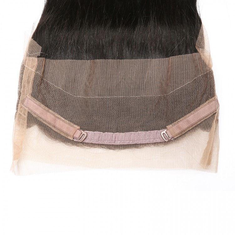 SocoosoHairWig straight human virgin hair 360 lace frontal closure with 3 bundles wefts