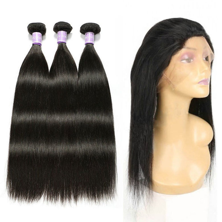 SocoosoHairWig original indian straight hair weave 3 bundle with 360 lace frontal closure a set