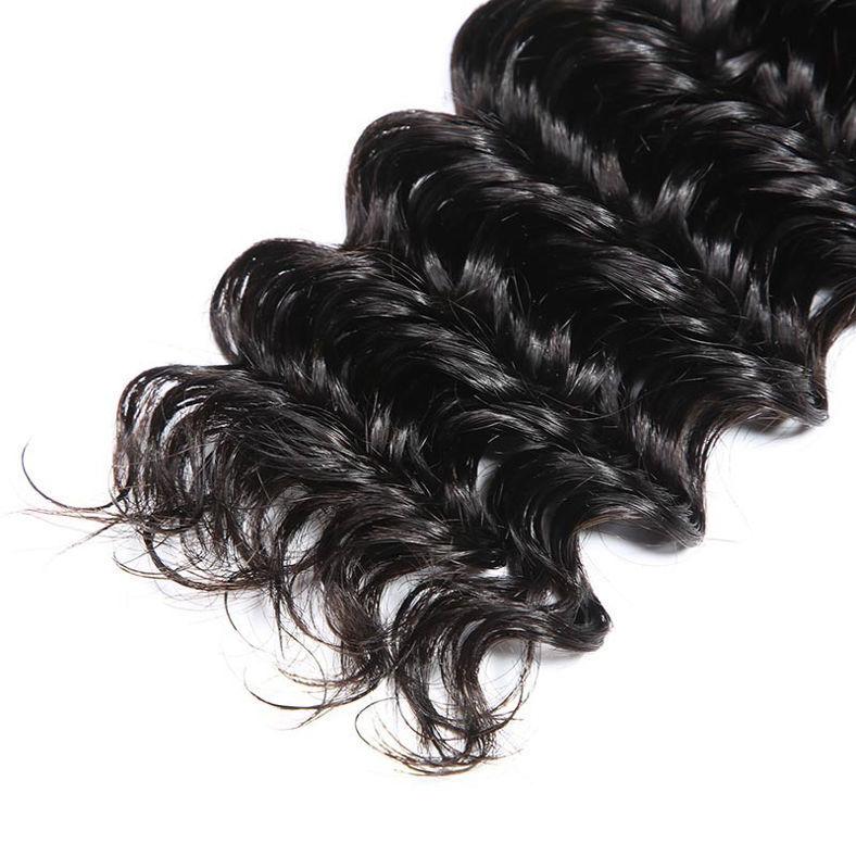 SocoosoHairWig malaysian natural color human hair lace frontal 13x4 inch plus 3 deep wave bundles set