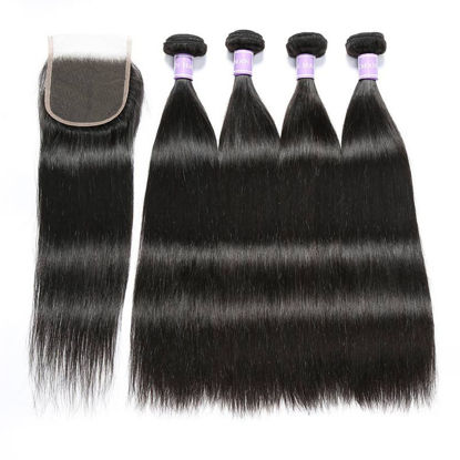 SocoosoHairWig 4pcs brazilian straight original virgin human hair with 1 unit lace closure