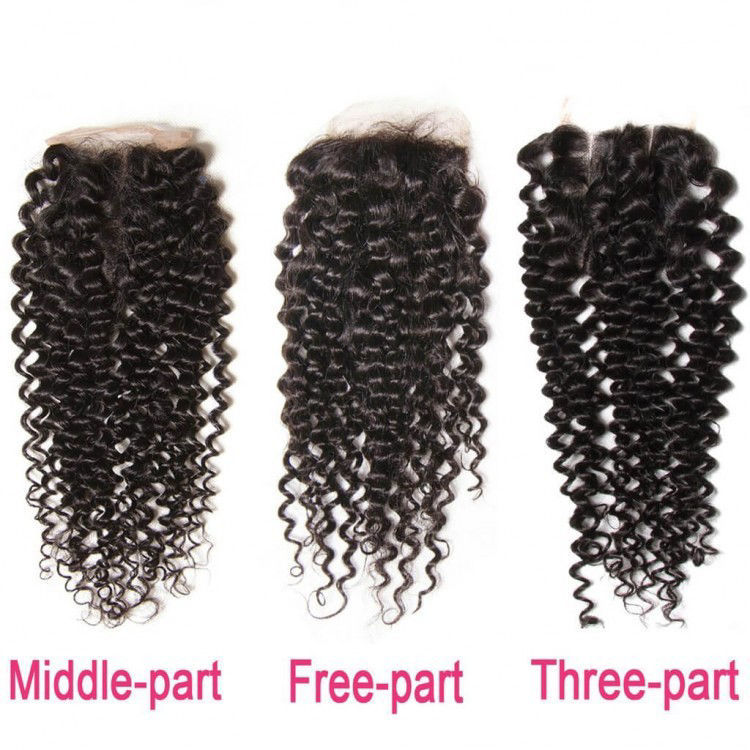 SocoosoHairWig 4 pcs brazilian virgin jerry curly human hair weft 1 pcs swissfrench lace closure 4x4 squ