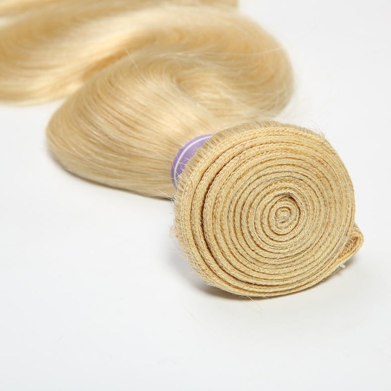 SocoosoHairWig 613 blonde virgin hair peruvian body wave weave 4 bundles with 1 pcs lace closure