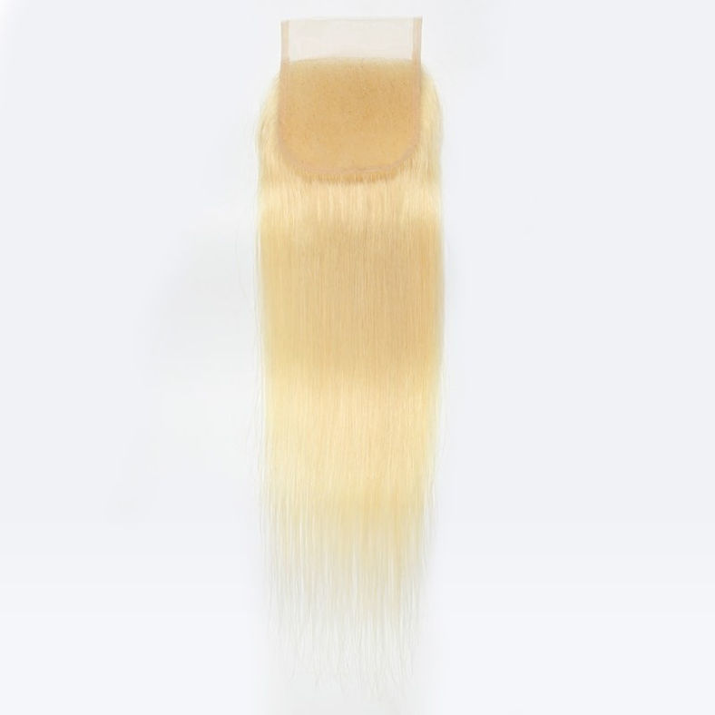 SocoosoHairWig 613 blonde straight hair of 4 bundles plus 1 pcs closure of virgin indian human hair