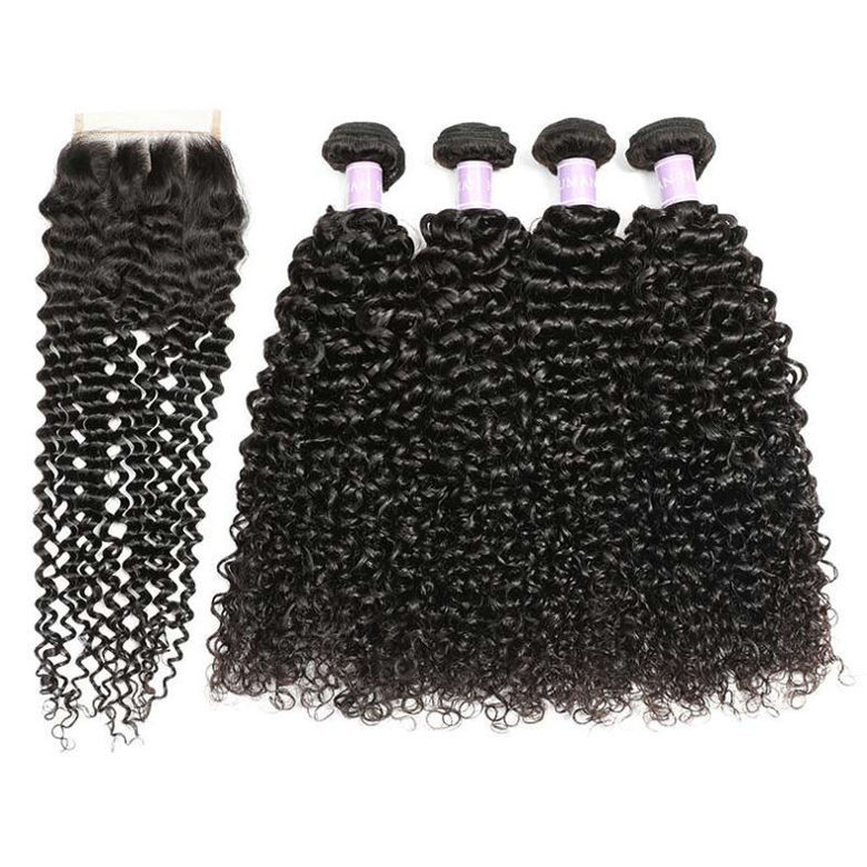 SocoosoHairWig indian curly hair of 4 by 4 inch lace closure match with 4 bundles virgin hair