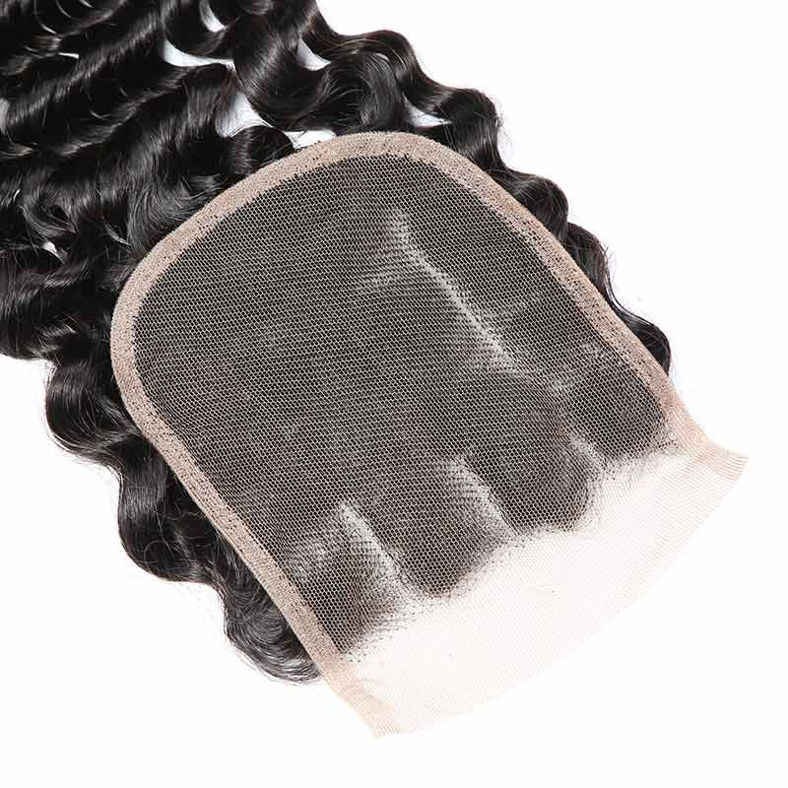 SocoosoHairWig deep wave indian virgin human hair weave 4 pcs match with 1 pcs lace closure