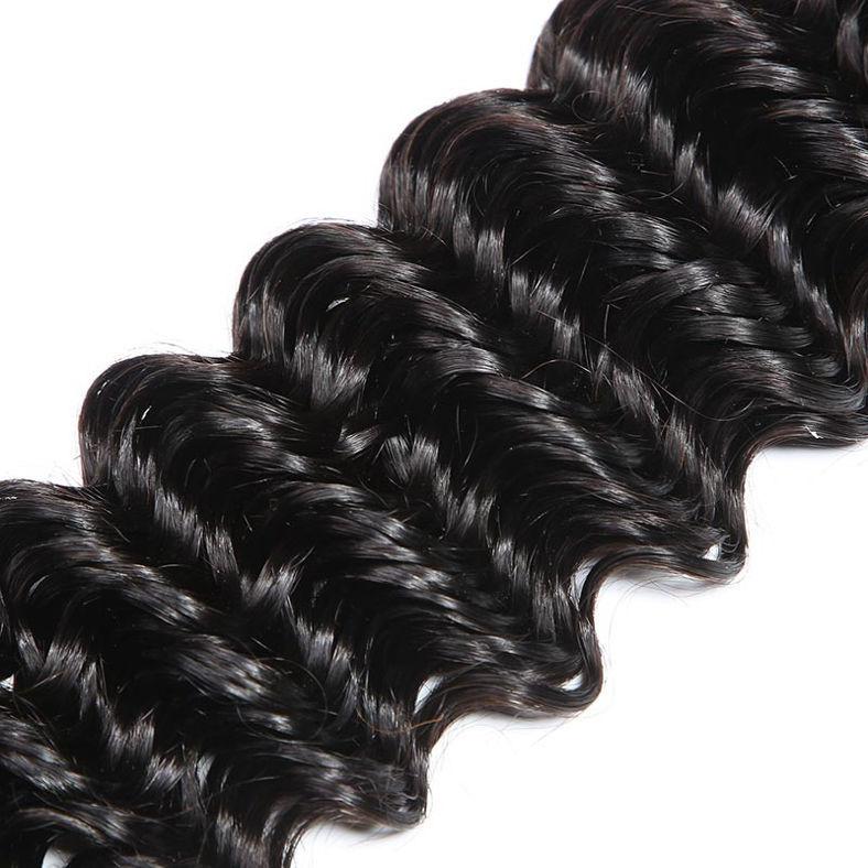 SocoosoHairWig deep wave indian virgin human hair weave 4 pcs match with 1 pcs lace closure