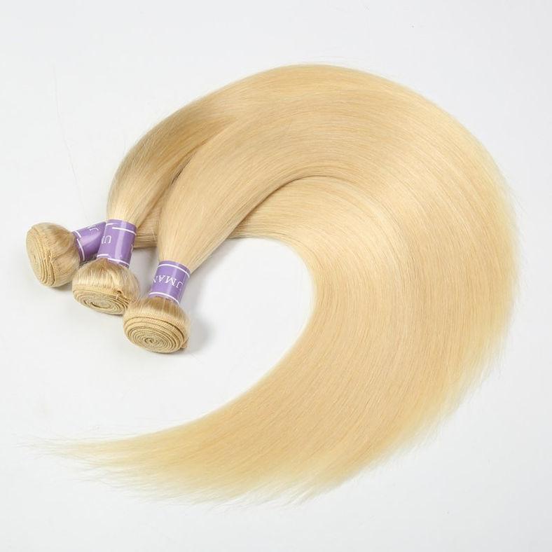 SocoosoHairWig 613 blonde peruvian hair straight 3 bundles plus 4x13 inch lace frontal piece