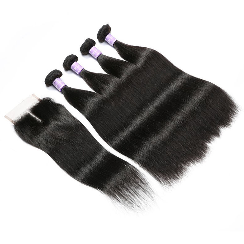 SocoosoHairWig straight hair of indian virgin 4 bundle weft with 1 piece 4x4 inch lace closure