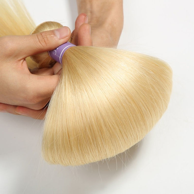 SocoosoHairWig 613 straight hair blonde lace frontal with 3 bundles malaysian virgin hair weave