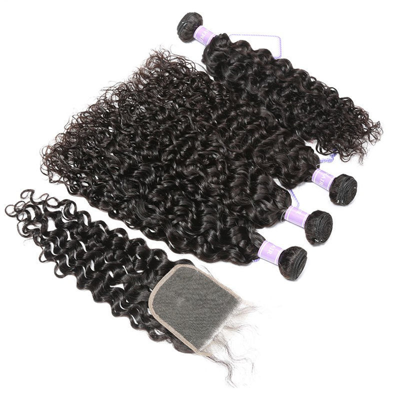 high quality SocoosoHairWig weave total 4 bundles 1 unit lace closure of virgin indian natural wave hair