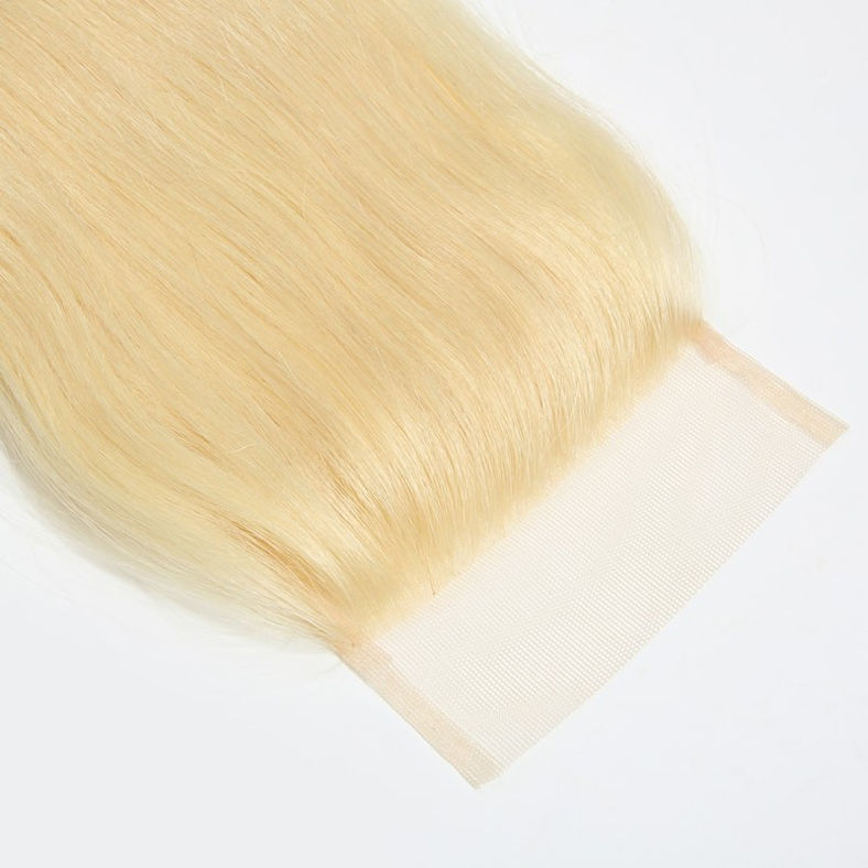 SocoosoHairWig 613 blonde lace closure 4x4 inch 1 unit 4 bundles of malaysian straight virgin human hair