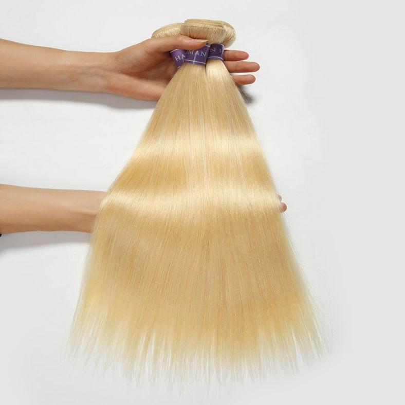 SocoosoHairWig brazilian virgin hair straight 613 color weave 4 bundles 1 unit swissfrench lace closure