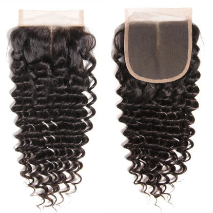 SocoosoHairWig 1 pcs deep wave virgin human hair 4 by 4 inch area lace closure