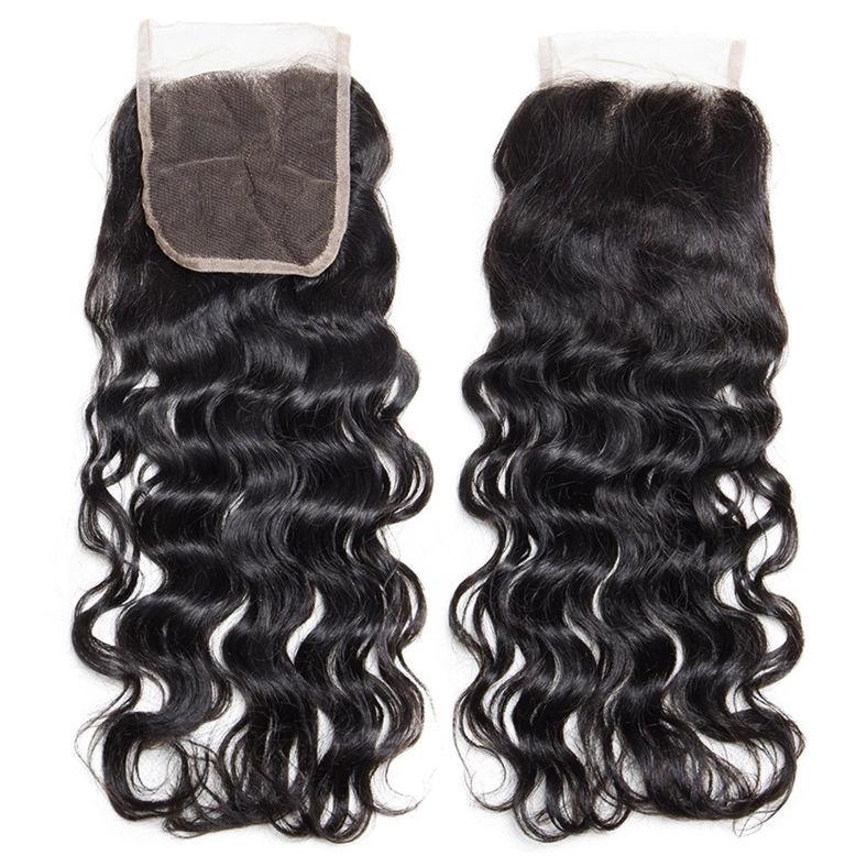 SocoosoHairWig natural wave virgin human hair of 4x4 free part swiss lace closure
