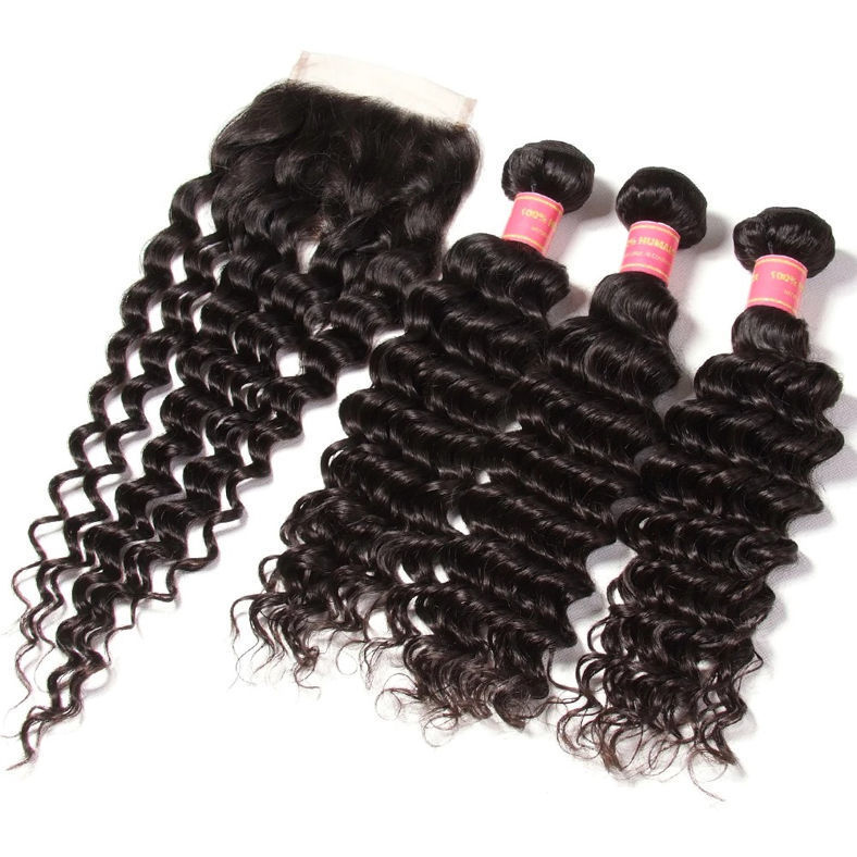 SocoosoHairWig indian hair 1pcs deep wave virgin hair 4 by 4 inch square lace closure