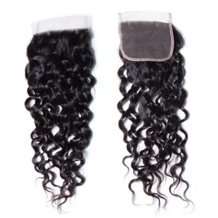 SocoosoHairWig 1 pieces 4x4 inch area water wave 100 virgin hair free part lace closures