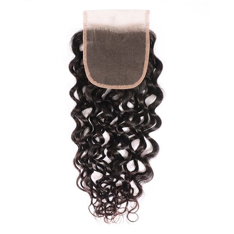SocoosoHairWig new 4x4 inch lace free part 100 virgin hair loose water wave lace closures